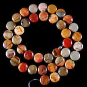 12mm Multicolor Picasso Jasper Gem Coin Loose Bead 15''