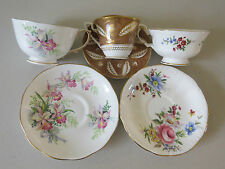 3 SETS ENGLISH FLORAL TEA CUPS & SAUCERS ~ PARAGON ~ ROSLYN ~ ROYAL WORCESTER