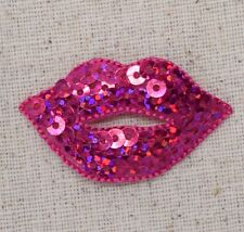 Lips - Sequin - Hot Pink Fuchsia - Embroidered Patch/Iron on Applique