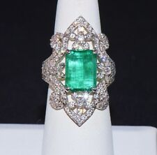 Certified Natural 8.6cts Emerald VS F Diamond 18K Solid Gold Cocktail Wrap Ring