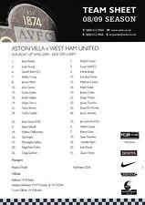 Teamsheet - Aston Villa v West Ham United 2008/9