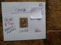 CANADA  STAMP KGV 10C  REDDISH PURPLE  SG 211 G/U