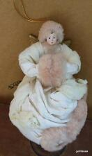 """Large Ornament Victorian Angel in White with Muff 8"""""""