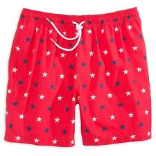 NWT Southern Tide Men's American Stars Red White Blue Swim Trunks Shorts Large