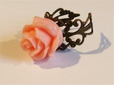 HM760 PINK ROSE ON ANTIQUED BRONZE FILIGREE RING