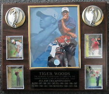 TIGER WOODS CUSTOM WOOD WALL PLAQUE W/4 UPPER DECK TIGER'S TALES CARDS