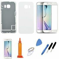 White Replacement Screen Glass Battery Back Cover For Samsung Galaxy S6 Edge 925