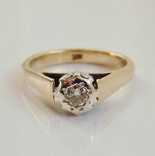 Fine Vintage Retro 9ct Gold Diamond Solitaire Ring c1940's; UK Ring Size 'L 1/2'