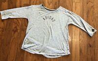 Adidas Girls XL (16) Gray 3/4 Sleeve Shirt Lightweight Polyester Viscose