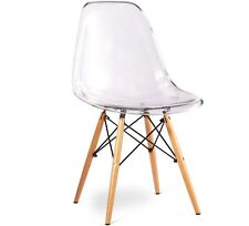 Eames Style Side Chair with Natural Wood Eiffel Dining Chair (Set of 4)