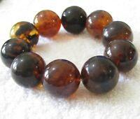 Dominican Amber Bracelet Beads Natural Stone Gem Authentic 23.45 mm (70.8 G)A766