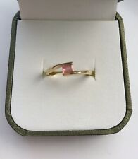 Ceylon Padparadscha Sapphire 18k Gold Ring Size L With Certificate.