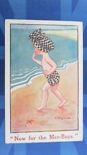 Vintage F E Morgan Comic Postcard 1920 Mermaid Mer-Boys Theme