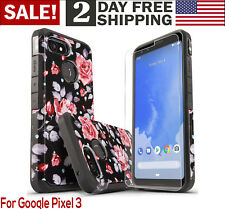 Google Pixel 3 Rugged Case Screen Protector Phone Cover Rose Floral Girls Women