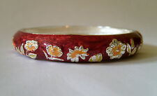 ROUND ENAMEL BANGLE WITH SPRING CLASP OPENING - RUST FLORAL IN COLOURED GIFT BOX