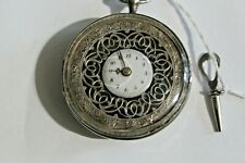 Rare Silver French Fusee Pocket Watch Key Wind  Ornate Fancy Antique Running