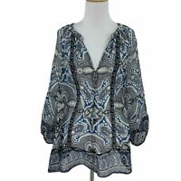 Joie Gloria Tabitha Silk Peasant Blouse Women's Size L Sheer V Neck Abstract Top