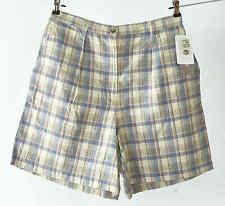 Jones New York Sport Women Size 12 Blue Plaid Linen Pleated Front Zip Fly Shorts
