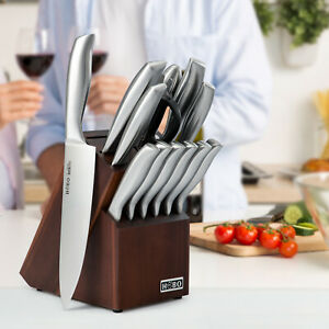 Professional 14Pcs Kitchen Knife Set Chef Knife Stainless Steel Wooden Block