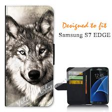For Samsung Galaxy S7 EDGE Wallet Flip Phone Case Cover Wolf Portrait Y00945