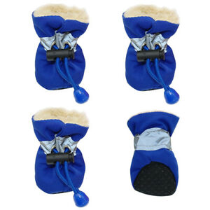 4pcs Winter Dog Shoes Warm Fleece Padded Booties Reflective Blue Pet Puppy Boots