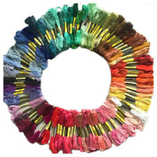 100 skeins coloured embroidery thread cotton needle craft sewing floss kit J6 YS