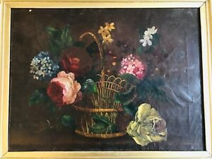 Antique 1870 Flowers Still Life Oil Canvas Roses Pink Yellow Wire Basket Maine