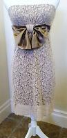 ALEXIA ADMOR dress S tan lace strapless EUC