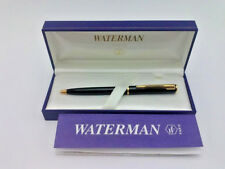 Waterman Paris Black Ballpoint Pen - Gold Plated Clip In Box With Papers