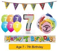 Happy 7th Birthday - AGE 7 - Party Balloons Banners Badges & Decorations Helium