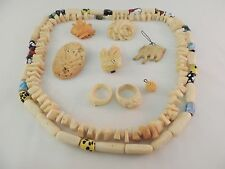 VINTAGE Costume Jewelry Large Lot of 10 Pieces Ivory Colored Bone #304