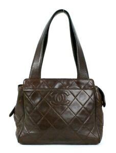 CHANEL Vintage Chocolate Brown Quilted Lambskin CC Logo Shoulder Bag