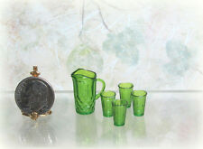 Dollhouse Miniature Dark Green Plastic Chrysnbon Pitcher & 4 Glasses
