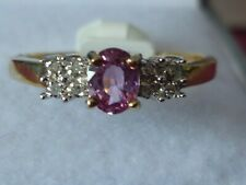 gold pink sapphire ring oval shape stone size N - NEW