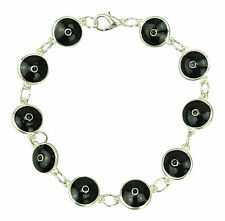Evil Eye Bracelet - Silver Plated Black Glass - For Protection