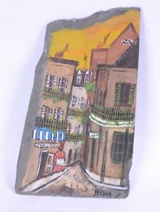 """Vintage Hand-painted NATURAL SLATE New Orleans Street Scene SIGNED Jessica 8.5""""H"""