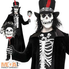 Voodoo Skeleton Men's Halloween Fancy Dress Costume James Bond Outfit + Hat M/L