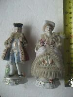 A PAIR OF VINTAGE RETRO KITCH CHINA FIGURINES STAMPED FOREIGN