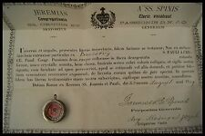 † ST PAUL of THE CROSS + COA 1909 PASSIONISTS FOUNDER RELIQUARY WAX SEAL ITALY †