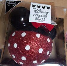 Disney Grande Minnie Mouse Rojo y Negro Purpurina Bola Navidad Primark