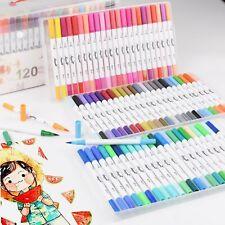 120 Color Dual Tip Brush Pens Watercolor Art Drawing Markers Artist Sketch Pens