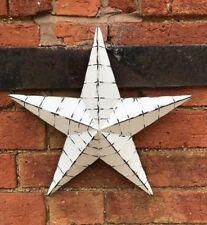 Whitewashed Metal Barn Star Medium Rustic Shabby Chic Wall Hanging Decor 34cm