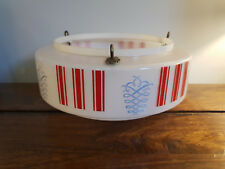 Retro 1970's Opaque Circular Glass Lightshade with Hanging Chains Red Blue Gilt