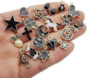 10 Enamel Gold Charms Black Pendants Findings Princess Set Assorted Lot Mix
