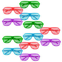Premium 12 Pack Colourful Shutter Shades Glasses Party Fancy Dress Bright