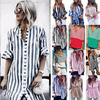 NEW Ladies Women Summer Striped Shirt Loose Formal OL Long Sleeve Tops Blouse