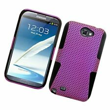 For Samsung Galaxy Note II 2 MESH Hard Hybrid Silicone Rubber Skin Case Purple