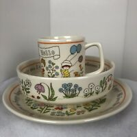 Vintage Lenox Gentle Friends Child  Dinner Set Plate Bowl Cup USA 1975 Baby Gift