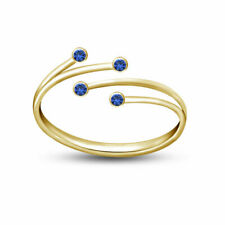 Women's Bypass Fashion Adjustable Toe Ring 14K Yellow Gold Fn Blue Sapphire