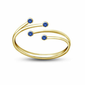 14K Yellow Gold Fn Blue Sapphire Women's Bypass Fashion Adjustable Toe Ring